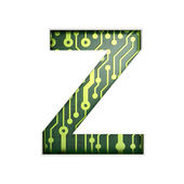 Electric curcuit board letters and numbers collection: Z isolate — Stock Photo