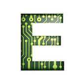 Electric curcuit board letters and numbers collection: E isolate — Stock Photo