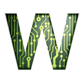 Electric curcuit board letters and numbers collection: W isolate — Stock Photo