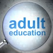 Education concept: optical glass with words Adult Education — Stock Photo