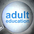 Stock Photo: Education concept: optical glass with words Adult Education