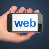Conceito de desenvolvimento web Seo: smartphone com Web — Fotografia Stock