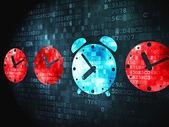 время концепция: будильник на цифровой фон — Стоковое фото