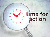 Timeline concept: Clock and Time for Action with optical glass — Stock Photo