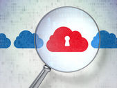 Networking concept: Cloud Whis Keyhole with optical glass — Stock Photo