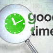 Time concept: Clock and Good Time with optical glass — 图库照片