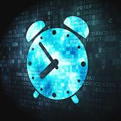 концепция временной шкалы: будильник на цифровой фон — Стоковое фото