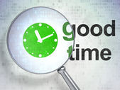 Time concept: Clock and Good Time with optical glass — Stock Photo