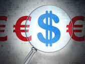 Currency concept: Dollar And Euro with optical glass — Stock Photo