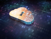Cloud technology concept: Golden Cloud Whis Keyhole on digital b — Stock Photo