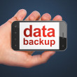 Information concept: Data Backup on smartphone - Stok fotoğraf
