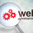Постер, плакат: Web development concept: Gears and Web Development with optical