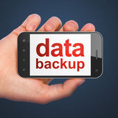 Information concept: Data Backup on smartphone — Stock Photo