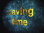 Time concept: Saving Time on digital background — Stockfoto