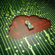 Stock Photo: Cloud technology concept: Cloud Whis Keyhole on circuit board