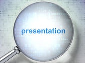 Advertising concept: Presentation with optical glass — Stock Photo