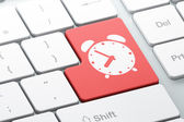 Timeline concept: Alarm Clock on computer keyboard — Stock Photo