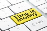 концепция время: время-деньги на клавиатуре компьютера — Стоковое фото