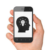 Information concept: Head Whis Light Bulb on smartphone — Stock Photo