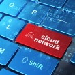 Cloud computing concept: Cloud Network and Cloud Network on comp — Stock Photo