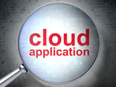 Cloud technology concept: Cloud Application with optical glass — Stock Photo