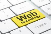 SEO web development concept: Web Technology on computer keyboard — Stock fotografie