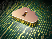 Networking concept: Cloud Whis Keyhole on circuit board — Stock Photo