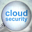 Security concept: Cloud Security with optical glass - Stock Photo