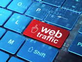 Web development concept: Mouse Cursor and Web Traffic on compute — Stock Photo