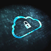 Networking concept: Cloud Whis Padlock on digital background — Stok fotoğraf