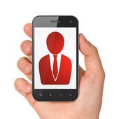 Business concept: Business Man on smartphone — Stockfoto