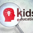Stock Photo: Education concept: Head Whis Light Bulb and Kids Education with