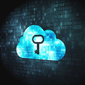 Cloud computing concept: Cloud Whis Key on digital background — Stock fotografie