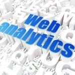 SEO web development concept: Web Analytics on alphabet backgroun — Stock Photo