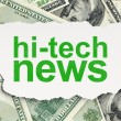 News concept: Hi-tech News on Money background - Stock Photo