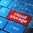 Networking concept: Cloud Storage on computer keyboard backgroun — Stock Photo #22565611