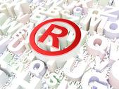 Hukuk kavramı: alfabe arka plan üzerinde kayıtlı — Stok fotoğraf