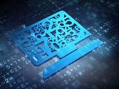 Education concept: Blue Computer Pc on digital background — Stock fotografie