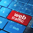 Web design concept: Web Traffic on computer keyboard background — Stock Photo