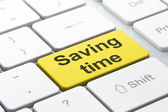 Timeline concept: Saving Time on computer keyboard background — Stock Photo