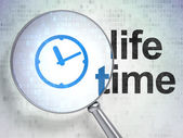 Timeline concept: Clock and Life Time with optical glass — Stock Photo