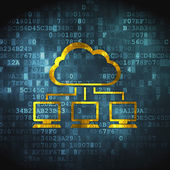 Cloud computing concept: Cloud Network on digital background — Stock Photo