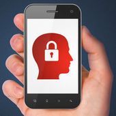 Information concept: Head Whis Padlock on smartphone — Stock Photo