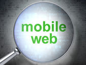 SEO web development concept: Mobile Web with optical glass — Stock Photo