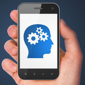 Data concept: Head With Gears on smartphone — Stock Photo