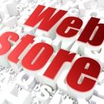 SEO web design concept: Web Store on alphabet background — Stock Photo