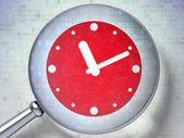 Timeline concept: Clock with optical glass on digital backgroun — Stock Photo