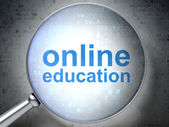 Education concept: Online Education with optical glass on digita — Stock Photo