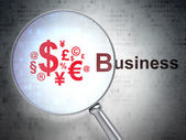 Business concept: Finance Symbol and Business with optical glass — Stock Photo