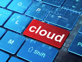 Cloud computing concept: Cloud on computer keyboard background — Foto Stock